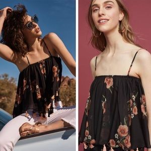 Anthropologie Floral Tasseled Cami!